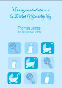 Personalised New Baby Boy Card Design 3